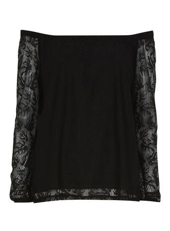 Womens **Vila Black Bardot Top Black - neckline: off the shoulder; predominant colour: black; occasions: evening; length: standard; style: top; fibres: polyester/polyamide - 100%; fit: body skimming; sleeve length: 3/4 length; sleeve style: standard; texture group: crepes; pattern type: fabric; pattern size: standard; pattern: patterned/print; embellishment: lace; season: s/s 2016; wardrobe: event