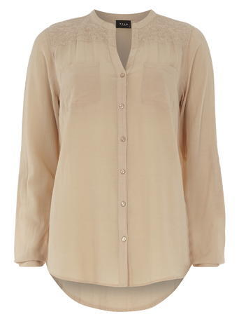 Womens **Vila Blush Embellished Shirt Pink - pattern: plain; length: below the bottom; style: shirt; predominant colour: nude; occasions: casual, creative work; neckline: collarstand & mandarin with v-neck; fit: body skimming; sleeve length: long sleeve; sleeve style: standard; texture group: cotton feel fabrics; pattern type: fabric; fibres: viscose/rayon - mix; season: s/s 2016; wardrobe: basic