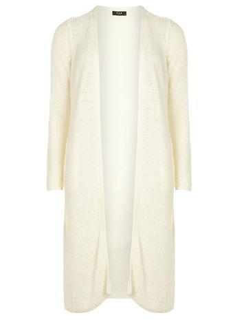 Womens **Vila White Longline Cardigan White - pattern: plain; length: below the bottom; neckline: collarless open; style: open front; predominant colour: ivory/cream; occasions: casual, creative work; fibres: acrylic - mix; fit: loose; sleeve length: long sleeve; sleeve style: standard; texture group: knits/crochet; pattern type: knitted - fine stitch; season: s/s 2016; wardrobe: basic