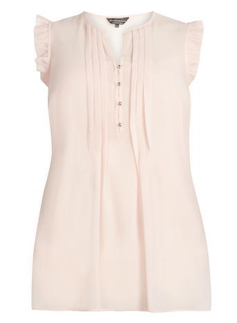 Womens **Billie & Blossom Curve Blush Frill Detail Blouse Pink - neckline: v-neck; sleeve style: capped; pattern: plain; style: blouse; predominant colour: blush; occasions: casual; length: standard; fibres: polyester/polyamide - 100%; fit: body skimming; sleeve length: short sleeve; texture group: crepes; pattern type: fabric; season: s/s 2016; wardrobe: basic