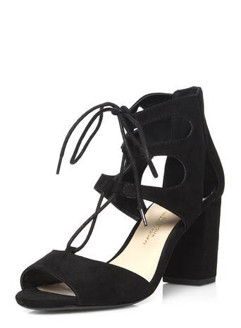 Womens Wide Fit Black 'woody' Sandals Black - predominant colour: black; occasions: casual; material: fabric; heel height: mid; ankle detail: ankle tie; heel: block; toe: open toe/peeptoe; style: standard; finish: plain; pattern: plain; season: s/s 2016; wardrobe: investment