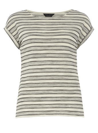 Womens Grey Stripe Tee Grey - pattern: horizontal stripes; style: t-shirt; secondary colour: ivory/cream; predominant colour: light grey; occasions: casual; length: standard; fibres: polyester/polyamide - mix; fit: body skimming; neckline: crew; sleeve length: short sleeve; sleeve style: standard; pattern type: fabric; texture group: jersey - stretchy/drapey; multicoloured: multicoloured; season: s/s 2016