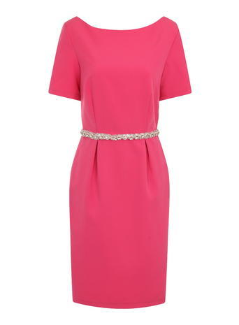 Womens **Paper Dolls Pink Jewel Waist Dress Pink - style: shift; neckline: round neck; fit: tailored/fitted; pattern: plain; waist detail: belted waist/tie at waist/drawstring; predominant colour: hot pink; occasions: evening; length: just above the knee; fibres: polyester/polyamide - stretch; sleeve length: short sleeve; sleeve style: standard; pattern type: fabric; texture group: other - light to midweight; embellishment: crystals/glass; season: s/s 2016; wardrobe: event; embellishment location: waist