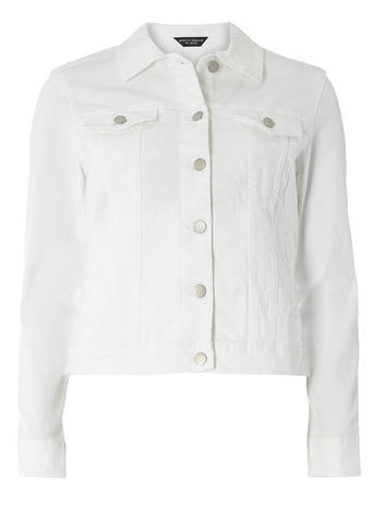 Womens White Denim Jacket White - pattern: plain; style: denim; predominant colour: white; occasions: casual; length: standard; fit: straight cut (boxy); fibres: cotton - stretch; collar: shirt collar/peter pan/zip with opening; sleeve length: long sleeve; sleeve style: standard; texture group: denim; collar break: high/illusion of break when open; pattern type: fabric; season: s/s 2016; wardrobe: basic; embellishment location: bust