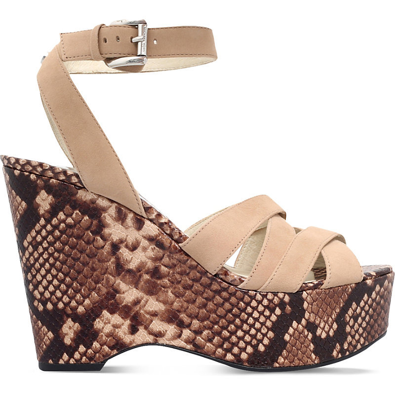 Megan Suede Wedge Sandals, Women's, Eur 38.5 / 5.5 Uk Women, Taupe Comb - predominant colour: nude; occasions: casual, creative work; material: suede; ankle detail: ankle strap; heel: wedge; toe: toe thongs; style: strappy; finish: plain; pattern: animal print; heel height: very high; shoe detail: platform; season: s/s 2016; wardrobe: highlight