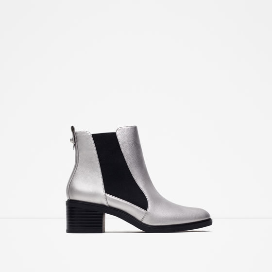 Elasticated High Heel Ankle Boots - predominant colour: silver; secondary colour: black; occasions: casual, creative work; material: faux leather; heel height: mid; heel: block; toe: round toe; boot length: ankle boot; finish: metallic; pattern: colourblock; style: chelsea; season: s/s 2016; wardrobe: highlight