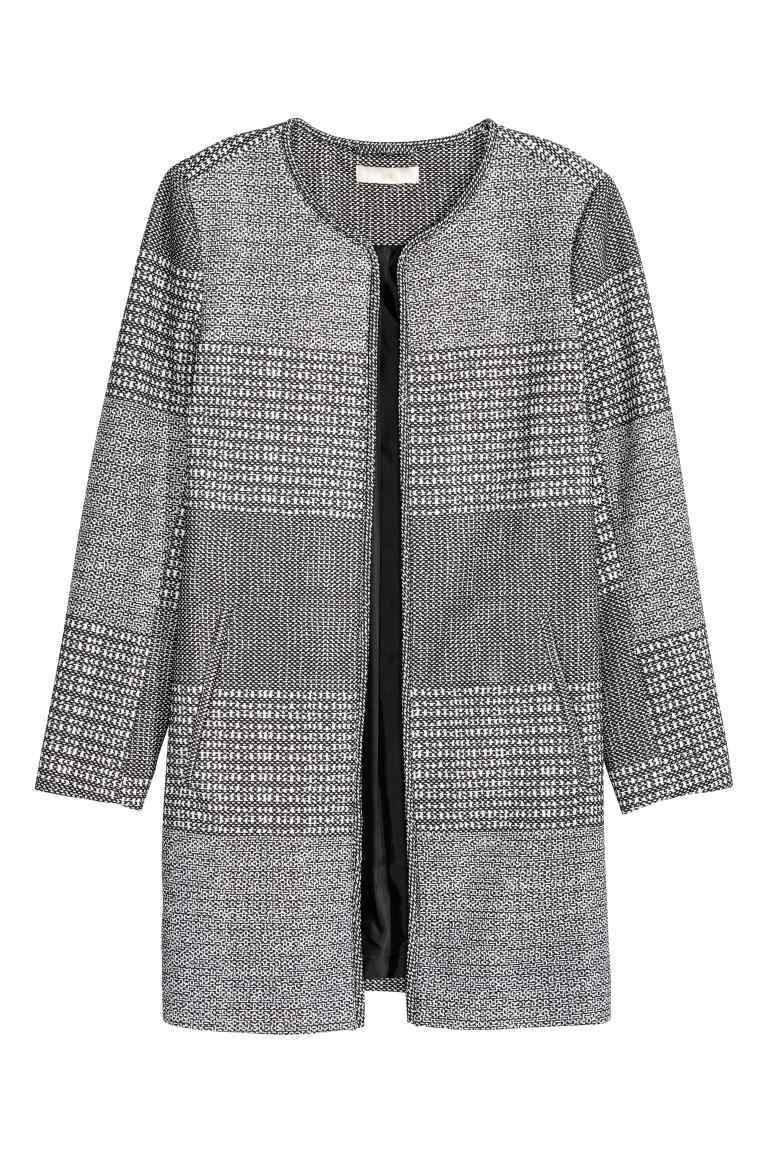 Jacket In A Textured Weave - style: single breasted blazer; collar: round collar/collarless; pattern: herringbone/tweed; predominant colour: mid grey; secondary colour: light grey; occasions: casual, creative work; fit: straight cut (boxy); fibres: polyester/polyamide - 100%; length: mid thigh; sleeve length: 3/4 length; sleeve style: standard; collar break: low/open; pattern type: fabric; pattern size: standard; texture group: brocade/jacquard; season: s/s 2016; wardrobe: basic
