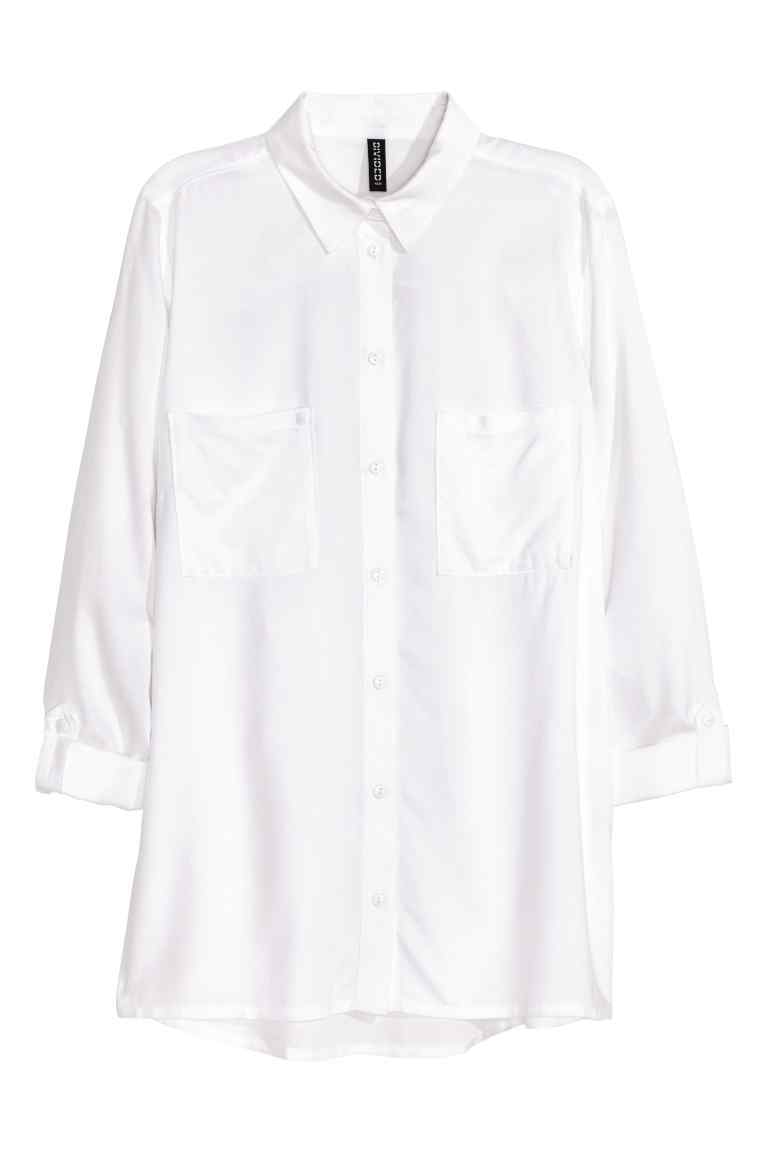 Viscose Shirt - neckline: shirt collar/peter pan/zip with opening; pattern: plain; length: below the bottom; style: shirt; bust detail: subtle bust detail; predominant colour: white; occasions: casual; fibres: viscose/rayon - 100%; fit: body skimming; sleeve length: long sleeve; sleeve style: standard; pattern type: fabric; texture group: other - light to midweight; season: s/s 2016; wardrobe: basic
