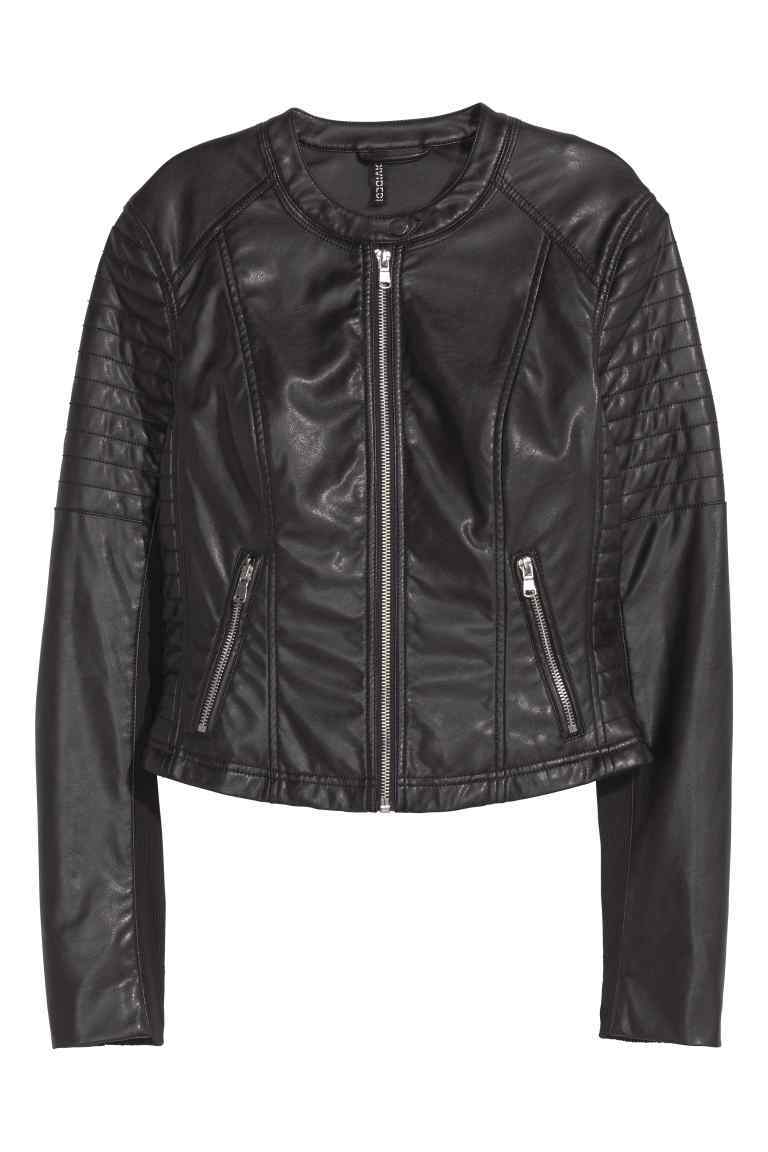 Biker Jacket - pattern: plain; style: biker; collar: standard biker; fit: slim fit; predominant colour: black; occasions: casual; length: standard; fibres: polyester/polyamide - 100%; sleeve length: long sleeve; sleeve style: standard; texture group: leather; collar break: high/illusion of break when open; pattern type: fabric; embellishment: quilted; season: s/s 2016