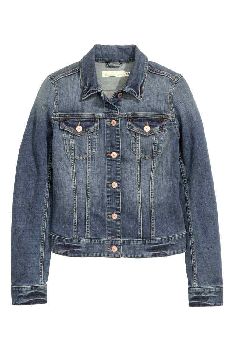 Denim Jacket - pattern: plain; bust detail: added detail/embellishment at bust; style: denim; predominant colour: denim; occasions: casual; length: standard; fit: straight cut (boxy); fibres: cotton - stretch; collar: shirt collar/peter pan/zip with opening; sleeve length: long sleeve; sleeve style: standard; texture group: denim; collar break: high/illusion of break when open; pattern type: fabric; season: s/s 2016; wardrobe: highlight