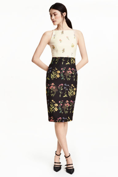 Floral Dress - style: shift; neckline: high square neck; fit: tailored/fitted; sleeve style: sleeveless; hip detail: draws attention to hips; predominant colour: ivory/cream; secondary colour: black; length: on the knee; fibres: polyester/polyamide - 100%; occasions: occasion; sleeve length: sleeveless; pattern type: fabric; pattern size: standard; pattern: florals; texture group: other - light to midweight; multicoloured: multicoloured; season: s/s 2016; wardrobe: event; embellishment: contrast fabric; embellishment location: top
