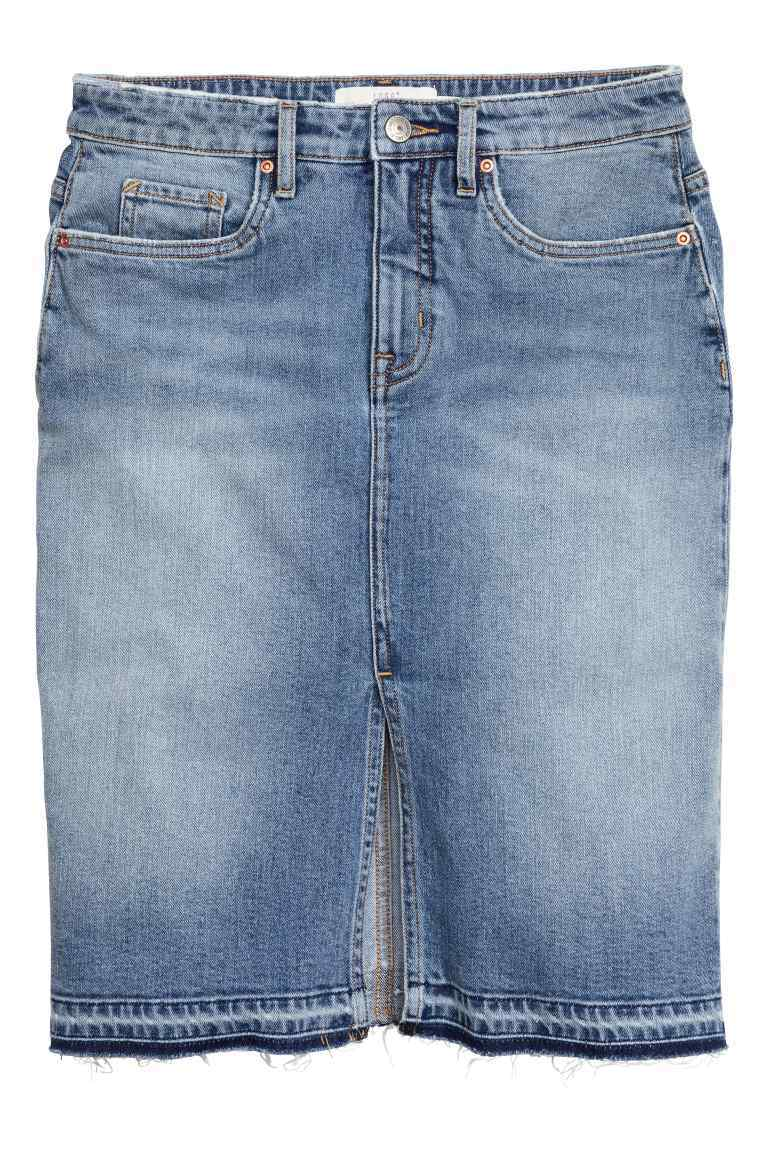 Knee Length Denim Skirt - pattern: plain; style: pencil; fit: tailored/fitted; waist: high rise; predominant colour: denim; occasions: casual; length: just above the knee; fibres: cotton - stretch; texture group: denim; pattern type: fabric; season: s/s 2016; wardrobe: basic