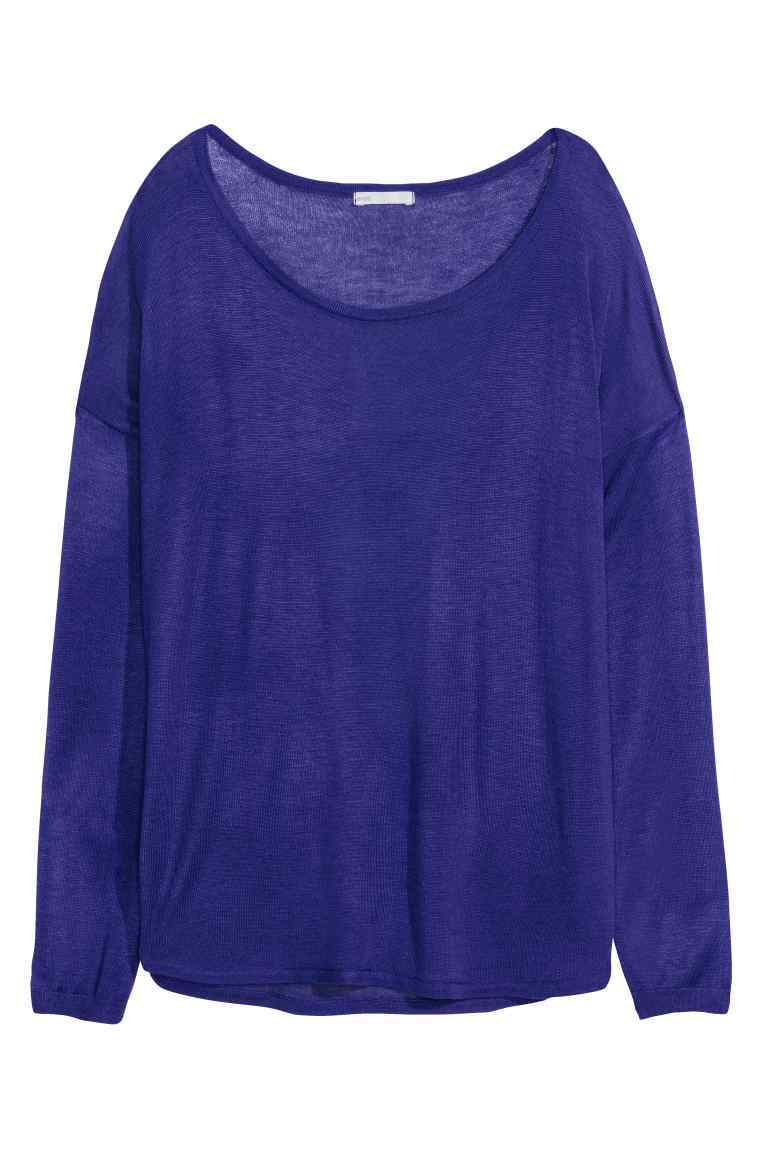 Fine Knit Jumper - neckline: scoop neck; sleeve style: dolman/batwing; pattern: plain; style: standard; predominant colour: navy; occasions: casual, creative work; length: standard; fibres: acrylic - mix; fit: loose; sleeve length: long sleeve; texture group: knits/crochet; pattern type: knitted - fine stitch; season: s/s 2016; wardrobe: basic