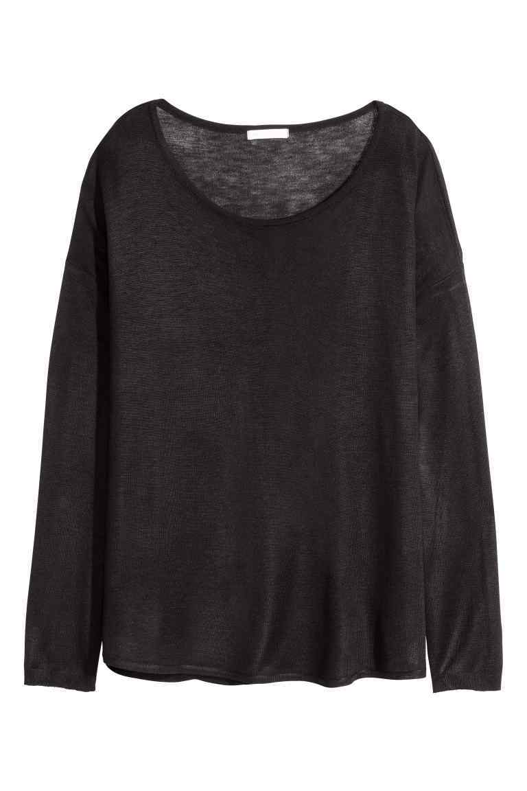 Fine Knit Jumper - neckline: scoop neck; sleeve style: dolman/batwing; pattern: plain; style: standard; predominant colour: black; occasions: casual, creative work; length: standard; fibres: acrylic - mix; fit: loose; sleeve length: long sleeve; texture group: knits/crochet; pattern type: knitted - fine stitch; season: s/s 2016