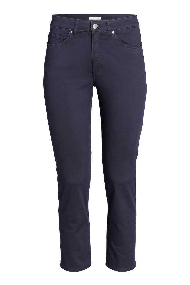 Ankle Length Trousers - pattern: plain; pocket detail: traditional 5 pocket; waist: mid/regular rise; predominant colour: navy; occasions: casual, creative work; length: ankle length; fibres: polyester/polyamide - stretch; fit: slim leg; pattern type: fabric; texture group: other - light to midweight; style: standard; season: s/s 2016; wardrobe: basic