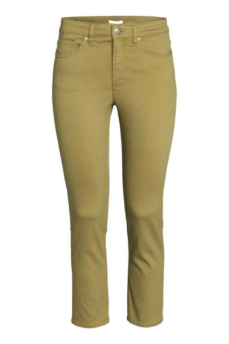Ankle Length Trousers - pattern: plain; waist: high rise; pocket detail: traditional 5 pocket; predominant colour: khaki; occasions: casual; length: ankle length; fibres: cotton - stretch; texture group: cotton feel fabrics; fit: slim leg; pattern type: fabric; style: standard; season: s/s 2016; wardrobe: basic