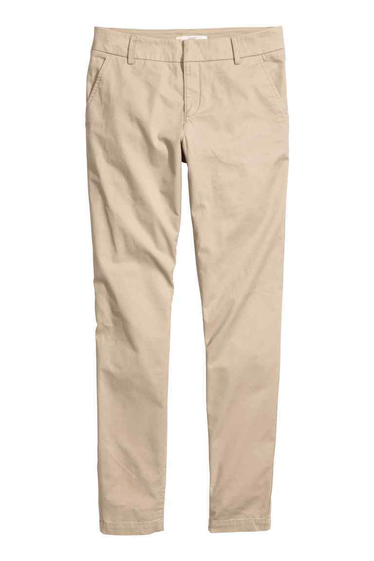 Chinos - pattern: plain; waist: mid/regular rise; predominant colour: stone; occasions: casual, holiday; length: ankle length; style: chino; fibres: cotton - 100%; waist detail: feature waist detail; texture group: cotton feel fabrics; fit: slim leg; pattern type: fabric; season: s/s 2016; wardrobe: basic
