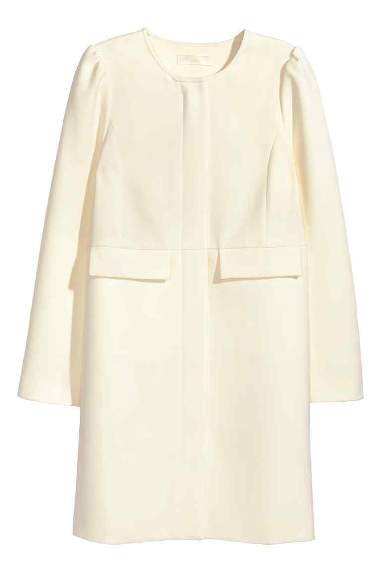 Coat With Puff Sleeves - sleeve style: puffed; pattern: plain; collar: round collar/collarless; style: single breasted; length: mid thigh; predominant colour: ivory/cream; occasions: evening, creative work; fit: straight cut (boxy); fibres: polyester/polyamide - 100%; sleeve length: long sleeve; texture group: cotton feel fabrics; collar break: high; pattern type: fabric; season: s/s 2016; wardrobe: highlight