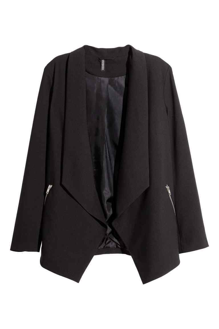 Jacket - pattern: plain; style: single breasted blazer; collar: shawl/waterfall; length: below the bottom; predominant colour: black; occasions: work, creative work; fit: straight cut (boxy); fibres: polyester/polyamide - 100%; sleeve length: long sleeve; sleeve style: standard; texture group: crepes; collar break: low/open; pattern type: fabric; season: s/s 2016; wardrobe: investment