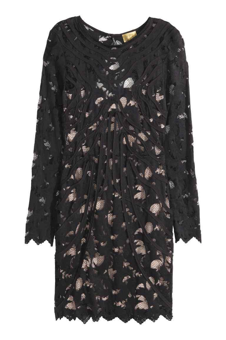Lace Dress - style: shift; length: mid thigh; neckline: round neck; predominant colour: black; occasions: evening; fit: body skimming; fibres: polyester/polyamide - 100%; sleeve length: long sleeve; sleeve style: standard; texture group: lace; pattern type: fabric; pattern: patterned/print; embellishment: lace; season: s/s 2016
