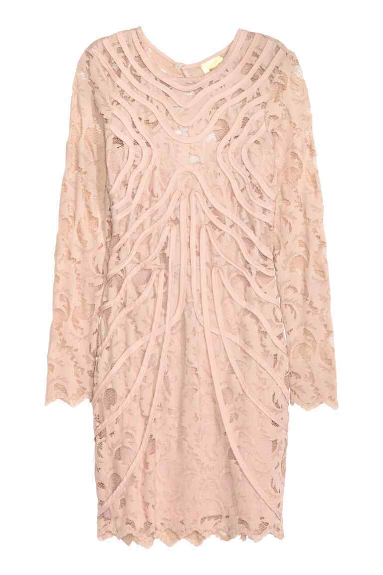 Lace Dress - style: shift; neckline: round neck; predominant colour: pink; length: just above the knee; fit: body skimming; fibres: polyester/polyamide - 100%; occasions: occasion; sleeve length: long sleeve; sleeve style: standard; texture group: lace; pattern type: fabric; pattern size: standard; pattern: patterned/print; embellishment: lace; season: s/s 2016; wardrobe: event; embellishment location: pattern