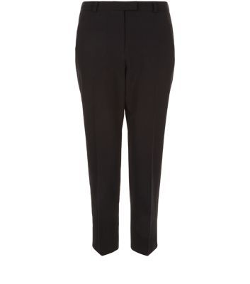 Blacked Cropped Slim Leg Trousers - length: standard; pattern: plain; waist: mid/regular rise; predominant colour: black; occasions: work; fibres: polyester/polyamide - 100%; fit: slim leg; pattern type: fabric; texture group: woven light midweight; style: standard; season: s/s 2016; wardrobe: basic