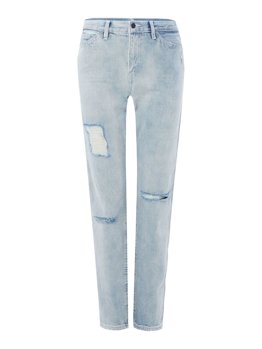 The Renegade Line 8 In Transit Fade, Denim Light Wash - style: straight leg; length: standard; pattern: plain; waist: high rise; pocket detail: traditional 5 pocket; predominant colour: pale blue; occasions: casual; fibres: cotton - stretch; texture group: denim; pattern type: fabric; jeans detail: rips; season: s/s 2016; wardrobe: basic
