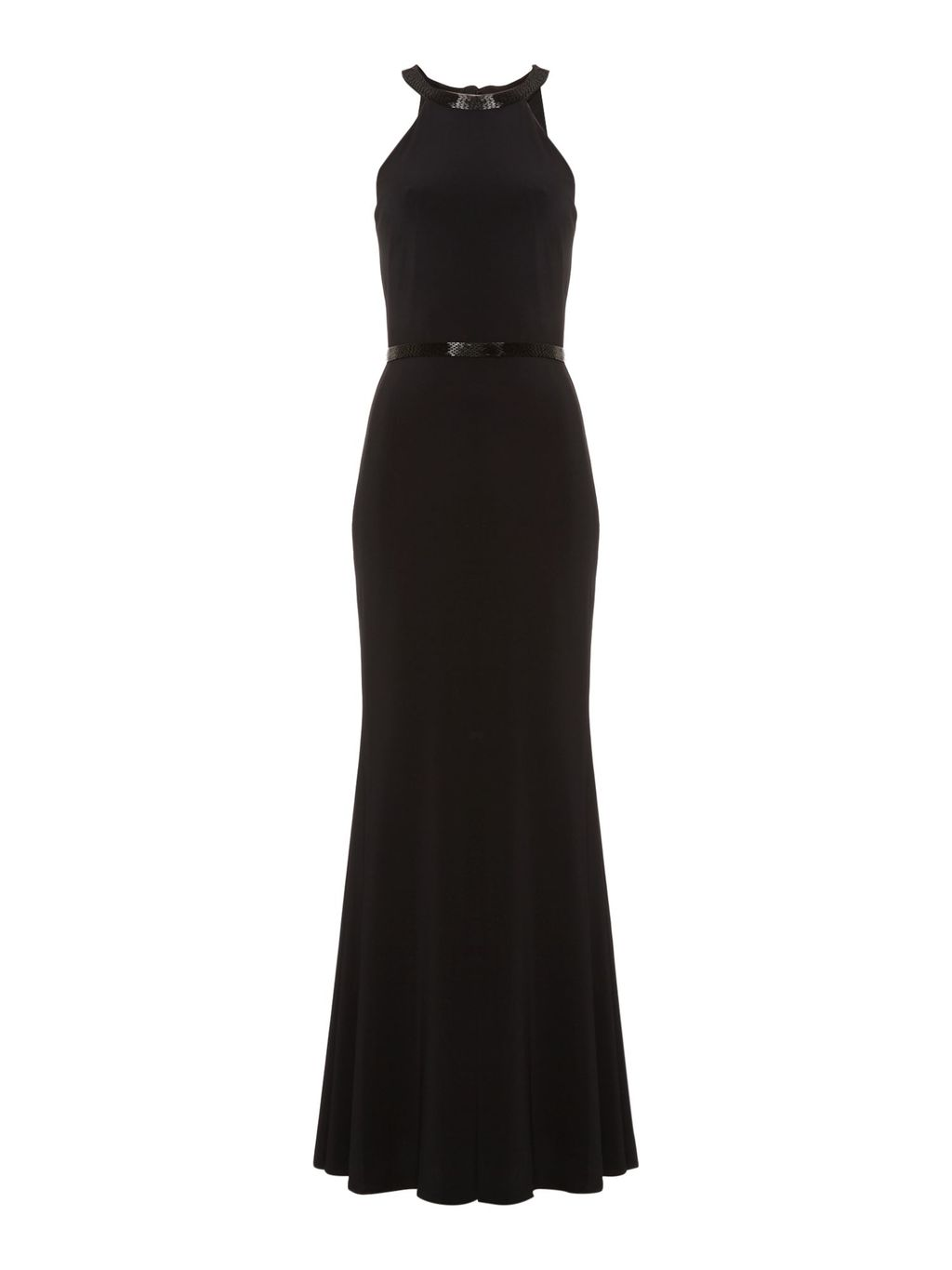 Jersey Gown With Halter Neck, Black - pattern: plain; sleeve style: sleeveless; length: ankle length; predominant colour: black; fit: fitted at waist & bust; fibres: polyester/polyamide - 100%; occasions: occasion; style: fishtail; sleeve length: sleeveless; pattern type: fabric; texture group: jersey - stretchy/drapey; season: s/s 2016; neckline: high halter neck; wardrobe: event