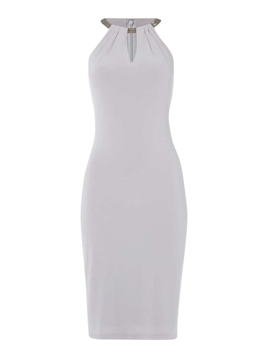 Jersey Lace Halter Gown, Silver - fit: tight; pattern: plain; sleeve style: sleeveless; style: bodycon; predominant colour: silver; occasions: evening; length: on the knee; neckline: peep hole neckline; fibres: polyester/polyamide - stretch; sleeve length: sleeveless; texture group: jersey - clingy; pattern type: fabric; season: s/s 2016