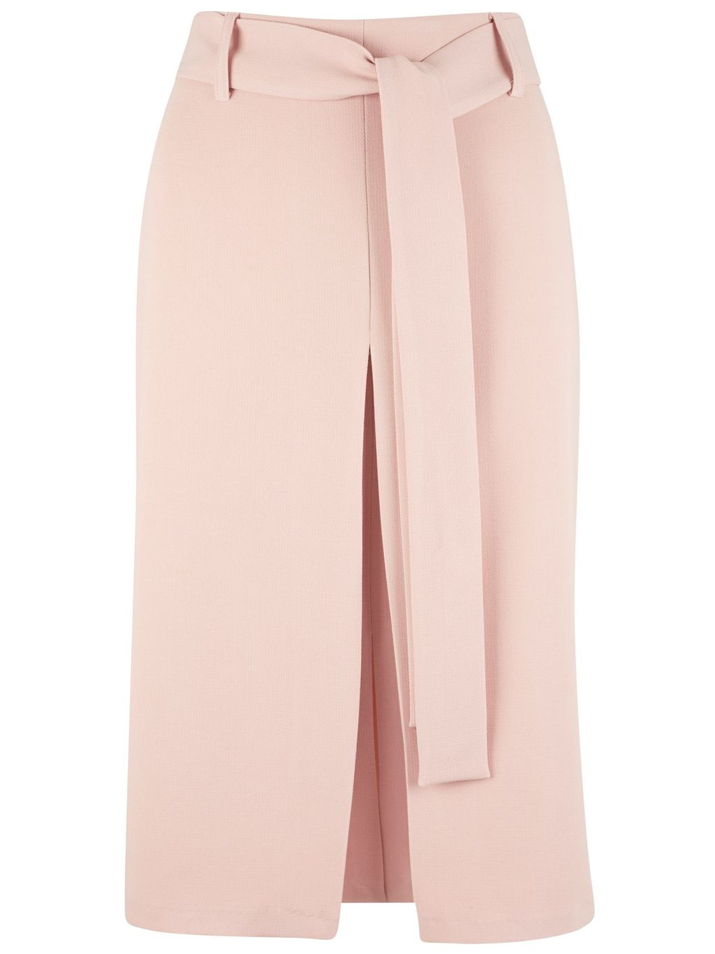 Self Tie Belt Vent Pencil Skirt, Pastel Pink - pattern: plain; style: pencil; waist: high rise; waist detail: belted waist/tie at waist/drawstring; predominant colour: blush; occasions: evening, creative work; length: just above the knee; fibres: polyester/polyamide - stretch; fit: straight cut; pattern type: fabric; texture group: woven light midweight; season: s/s 2016; wardrobe: basic
