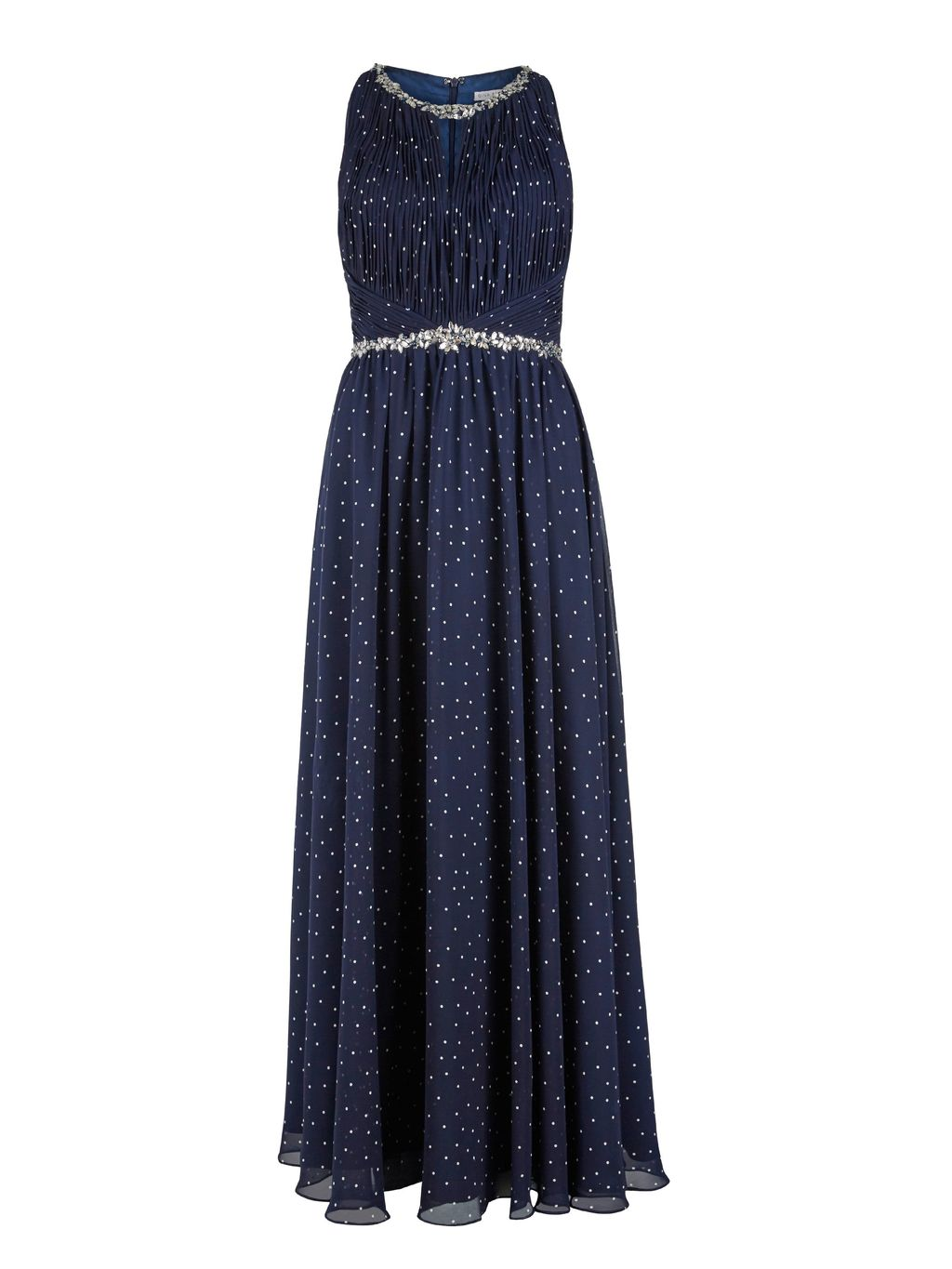 Long Spotty Dress, Beaded Waist And Neck, Navy - sleeve style: sleeveless; style: maxi dress; pattern: polka dot; secondary colour: white; predominant colour: navy; length: floor length; fit: body skimming; fibres: polyester/polyamide - 100%; occasions: occasion; neckline: crew; sleeve length: sleeveless; texture group: sheer fabrics/chiffon/organza etc.; pattern type: fabric; embellishment: beading; season: s/s 2016; wardrobe: event; embellishment location: neck, waist