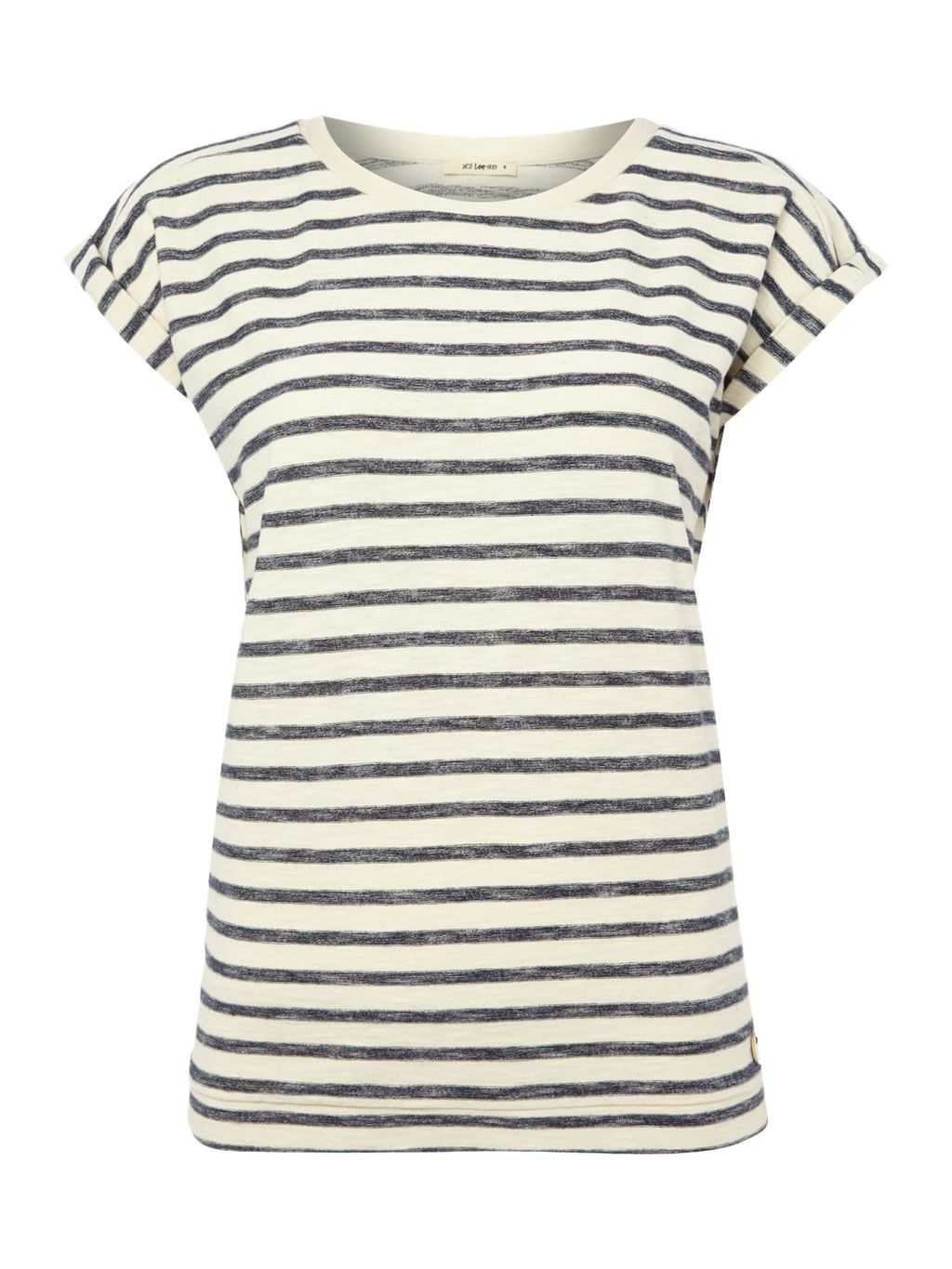 Short Sleeve Striped T Shirt, White - pattern: horizontal stripes; style: t-shirt; predominant colour: ivory/cream; secondary colour: light grey; occasions: casual; length: standard; fibres: cotton - 100%; fit: body skimming; neckline: crew; sleeve length: short sleeve; sleeve style: standard; pattern type: fabric; pattern size: standard; texture group: jersey - stretchy/drapey; season: s/s 2016; wardrobe: basic