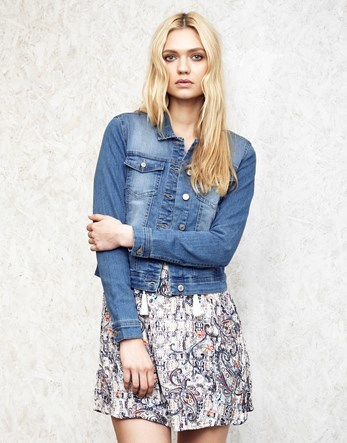 Medium Wash Denim Jacket - pattern: striped; bust detail: added detail/embellishment at bust; style: denim; fit: slim fit; predominant colour: denim; occasions: casual; length: standard; fibres: cotton - stretch; collar: shirt collar/peter pan/zip with opening; sleeve length: long sleeve; sleeve style: standard; texture group: denim; collar break: high/illusion of break when open; pattern type: fabric; season: s/s 2016