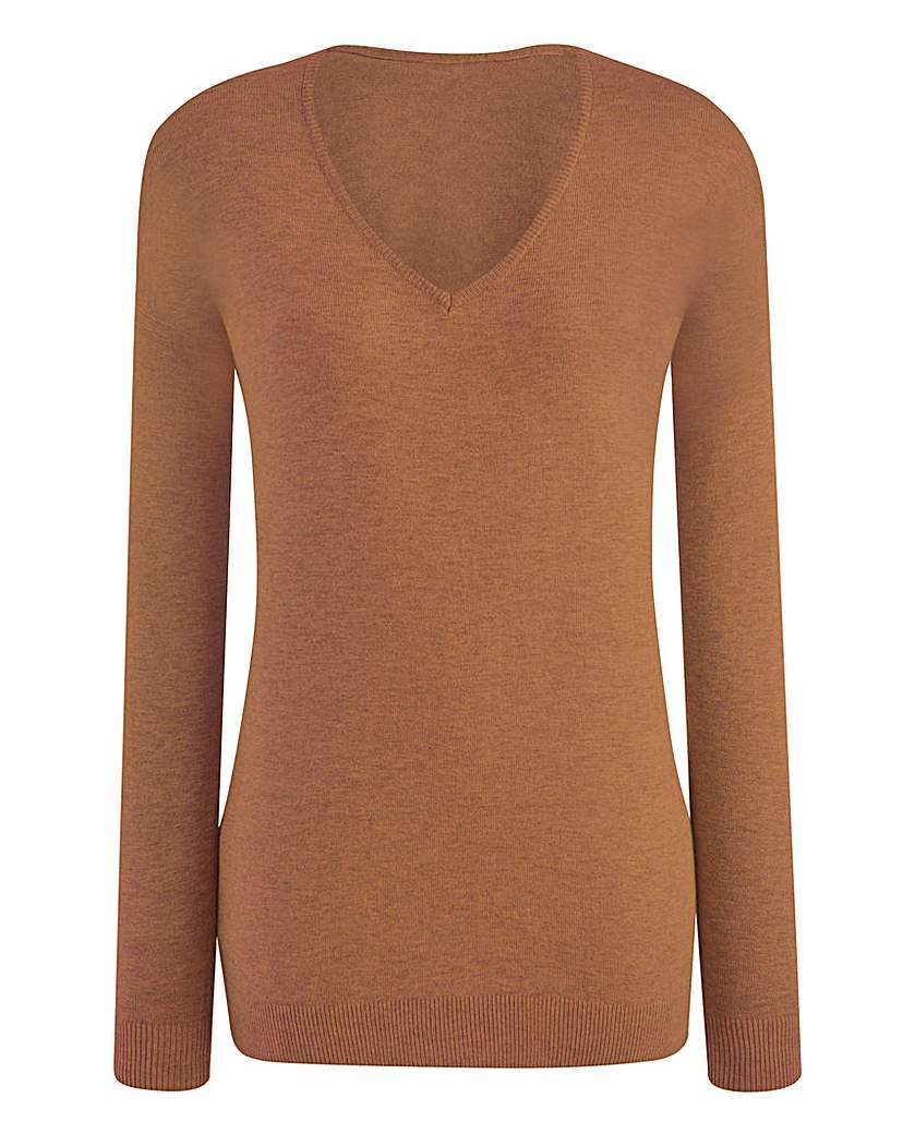 V Neck Jumper - neckline: v-neck; pattern: plain; style: standard; predominant colour: camel; occasions: casual, creative work; length: standard; fit: standard fit; sleeve length: long sleeve; sleeve style: standard; texture group: knits/crochet; pattern type: knitted - fine stitch; fibres: viscose/rayon - mix; season: s/s 2016; wardrobe: basic