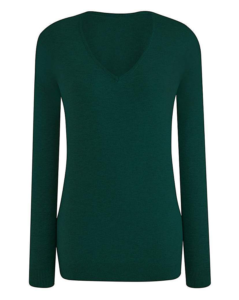 V Neck Jumper - neckline: v-neck; pattern: plain; style: standard; predominant colour: dark green; occasions: casual, creative work; length: standard; fibres: cotton - mix; fit: standard fit; sleeve length: long sleeve; sleeve style: standard; texture group: knits/crochet; pattern type: knitted - fine stitch; season: s/s 2016; wardrobe: highlight