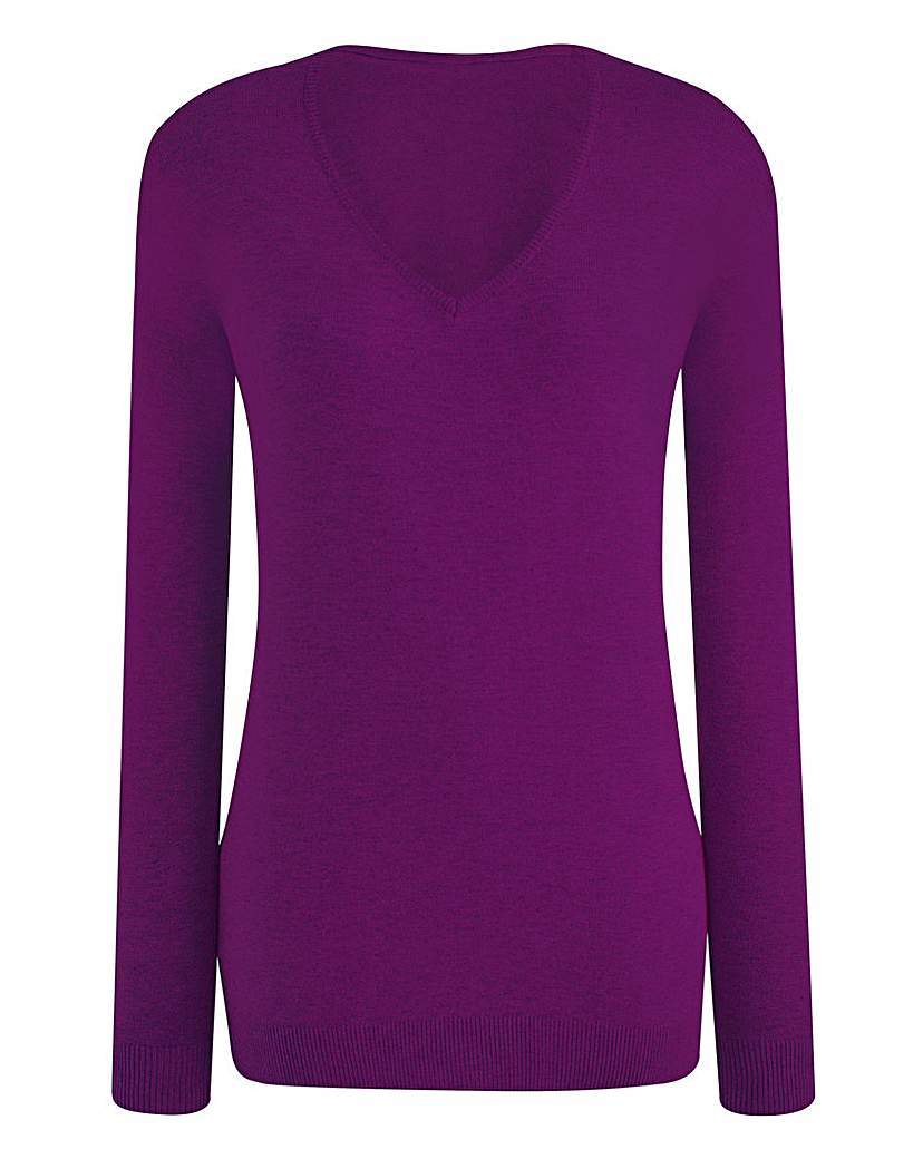 V Neck Jumper - neckline: v-neck; pattern: plain; style: standard; predominant colour: purple; occasions: casual, creative work; length: standard; fibres: cotton - mix; fit: slim fit; sleeve length: long sleeve; sleeve style: standard; texture group: knits/crochet; pattern type: knitted - fine stitch; season: s/s 2016; wardrobe: highlight