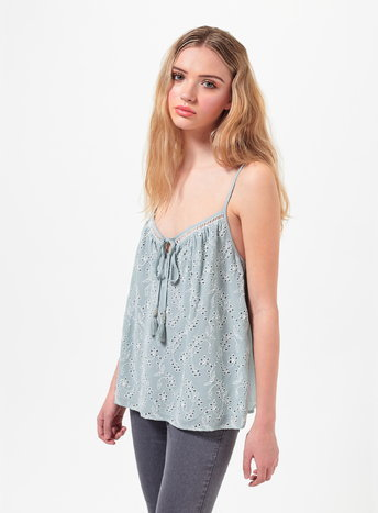 Womens Petite Embroidered Cami Top, Mint Green - neckline: low v-neck; sleeve style: spaghetti straps; pattern: plain; style: vest top; predominant colour: pale blue; occasions: casual; length: standard; fibres: viscose/rayon - 100%; fit: loose; sleeve length: sleeveless; pattern type: fabric; texture group: other - light to midweight; season: s/s 2016; wardrobe: highlight