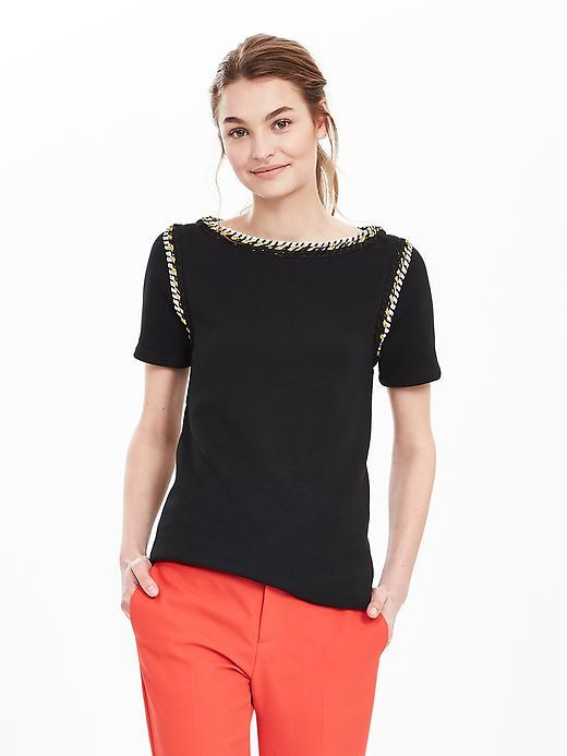 Rope Trim Tee Black - neckline: slash/boat neckline; pattern: plain; style: t-shirt; predominant colour: black; occasions: casual, creative work; length: standard; fibres: cotton - 100%; fit: body skimming; sleeve length: short sleeve; sleeve style: standard; pattern type: fabric; texture group: jersey - stretchy/drapey; season: s/s 2016; wardrobe: highlight; embellishment location: shoulder