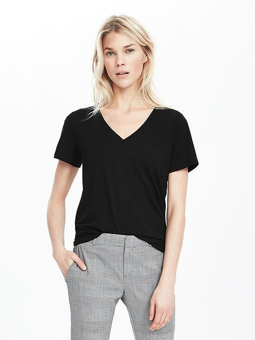 Essential Pima Cotton Vee Tee Black - neckline: v-neck; pattern: plain; style: t-shirt; predominant colour: black; occasions: casual; length: standard; fibres: cotton - 100%; fit: body skimming; sleeve length: short sleeve; sleeve style: standard; pattern type: fabric; texture group: jersey - stretchy/drapey; season: s/s 2016