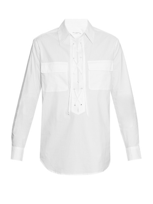 Knox Lace Up Cotton Shirt - neckline: shirt collar/peter pan/zip with opening; pattern: plain; style: shirt; predominant colour: white; occasions: casual; length: standard; fibres: cotton - 100%; fit: body skimming; sleeve length: long sleeve; sleeve style: standard; texture group: cotton feel fabrics; bust detail: bulky details at bust; pattern type: fabric; season: s/s 2016; wardrobe: basic