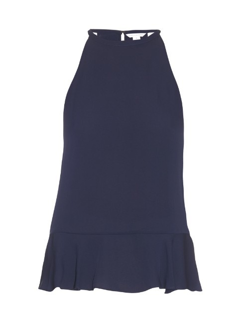 Lizzy Top - pattern: plain; sleeve style: sleeveless; predominant colour: navy; occasions: evening; length: standard; style: top; fibres: silk - 100%; fit: body skimming; neckline: crew; sleeve length: sleeveless; pattern type: fabric; texture group: other - light to midweight; season: s/s 2016; wardrobe: event