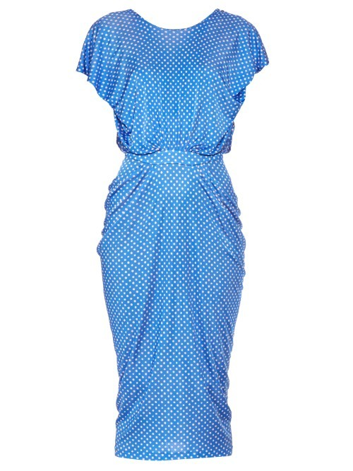Apsara Draped Polka Dot Print Dress - style: shift; neckline: round neck; sleeve style: capped; bust detail: subtle bust detail; secondary colour: white; predominant colour: diva blue; length: on the knee; fit: body skimming; fibres: cotton - stretch; occasions: occasion; waist detail: feature waist detail; sleeve length: short sleeve; texture group: jersey - clingy; pattern type: fabric; pattern size: big & busy; pattern: patterned/print; season: s/s 2016; wardrobe: event