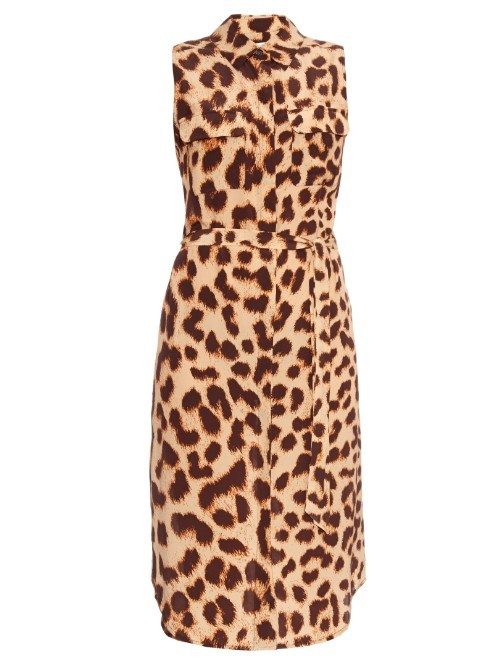 Leopard Print Silk Dress - style: shirt; neckline: shirt collar/peter pan/zip with opening; sleeve style: sleeveless; waist detail: belted waist/tie at waist/drawstring; predominant colour: chocolate brown; secondary colour: camel; occasions: evening, creative work; length: on the knee; fit: straight cut; fibres: silk - 100%; sleeve length: sleeveless; pattern type: fabric; pattern size: standard; pattern: animal print; texture group: other - light to midweight; season: s/s 2016