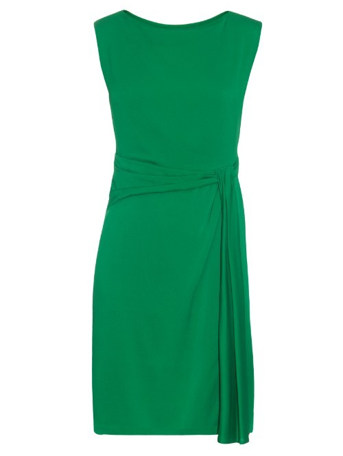 Aveline Dress - style: shift; pattern: plain; sleeve style: sleeveless; waist detail: twist front waist detail/nipped in at waist on one side/soft pleats/draping/ruching/gathering waist detail; predominant colour: emerald green; occasions: evening; length: just above the knee; fit: body skimming; fibres: silk - mix; neckline: crew; sleeve length: sleeveless; pattern type: fabric; texture group: other - light to midweight; season: s/s 2016; wardrobe: event