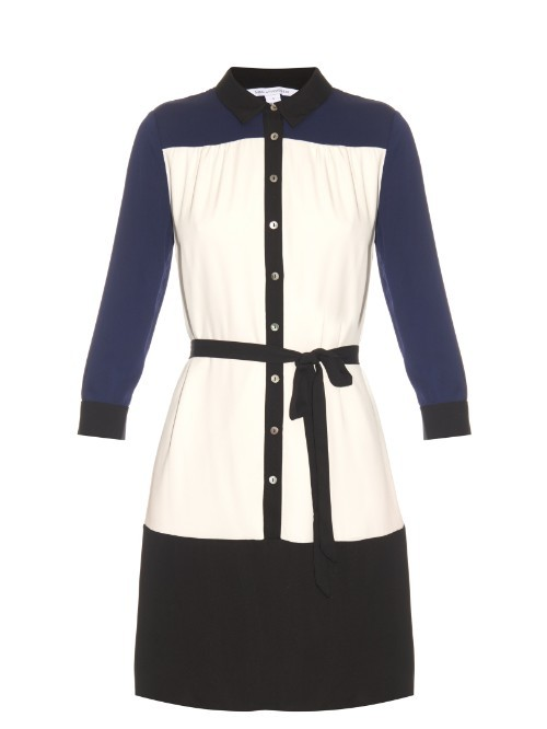 Billie Shirtdress - style: shirt; length: mid thigh; neckline: shirt collar/peter pan/zip with opening; waist detail: belted waist/tie at waist/drawstring; predominant colour: white; secondary colour: black; occasions: casual, creative work; fit: body skimming; fibres: silk - mix; sleeve length: long sleeve; sleeve style: standard; pattern type: fabric; pattern: colourblock; texture group: woven light midweight; multicoloured: multicoloured; season: s/s 2016