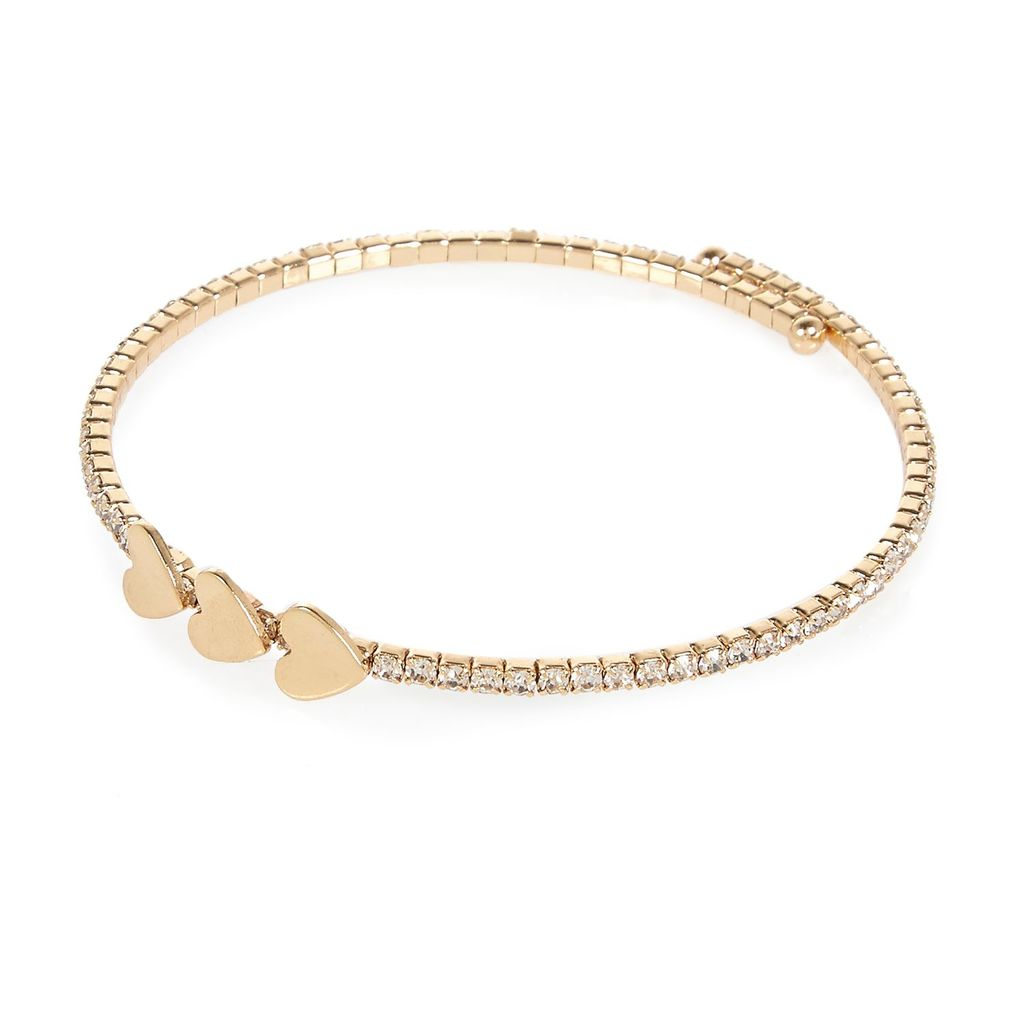 Womens Gold Tone Heart Spiral Bracelet - predominant colour: gold; occasions: casual, creative work; style: bangle/standard; size: standard; material: chain/metal; finish: metallic; season: s/s 2016; wardrobe: basic