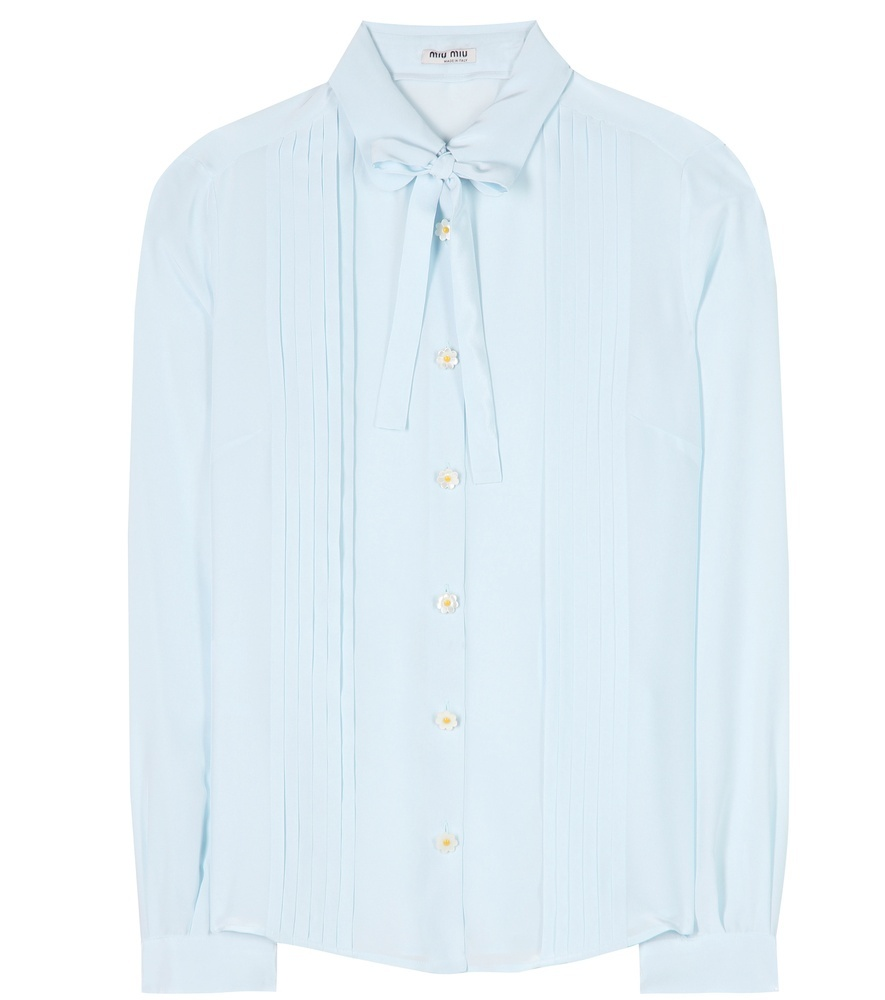 Silk Shirt - pattern: plain; neckline: pussy bow; style: blouse; bust detail: ruching/gathering/draping/layers/pintuck pleats at bust; predominant colour: pale blue; occasions: casual, occasion, creative work; length: standard; fibres: silk - 100%; fit: straight cut; sleeve length: long sleeve; sleeve style: standard; texture group: silky - light; pattern type: fabric; season: s/s 2016; trends: vintage chic