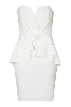 Cella Mini Dress By Tfnc - style: shift; length: mini; neckline: strapless (straight/sweetheart); fit: tailored/fitted; pattern: plain; sleeve style: strapless; hip detail: draws attention to hips; waist detail: peplum waist detail; bust detail: subtle bust detail; predominant colour: white; occasions: evening, occasion; fibres: polyester/polyamide - 100%; sleeve length: sleeveless; texture group: crepes; pattern type: fabric; season: s/s 2016; wardrobe: event
