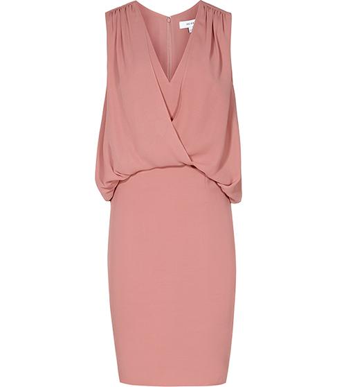 Loralie Drape Front Dress - style: faux wrap/wrap; neckline: v-neck; pattern: plain; sleeve style: sleeveless; bust detail: subtle bust detail; predominant colour: pink; occasions: evening; length: just above the knee; fit: body skimming; fibres: polyester/polyamide - 100%; sleeve length: sleeveless; pattern type: fabric; texture group: jersey - stretchy/drapey; season: s/s 2016; wardrobe: event