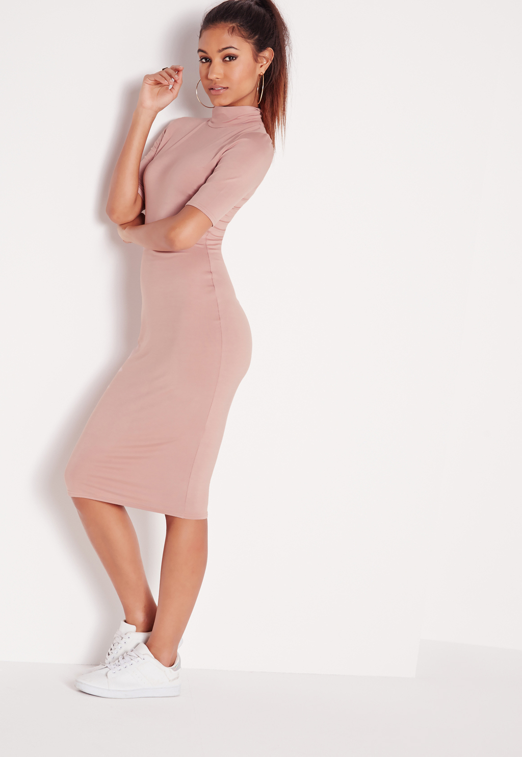 High Neck Short Sleeve Bodycon Dress Dusky Pink, Pink - length: below the knee; fit: tight; pattern: plain; neckline: high neck; style: bodycon; hip detail: fitted at hip; predominant colour: blush; occasions: evening; fibres: polyester/polyamide - stretch; sleeve length: half sleeve; sleeve style: standard; texture group: jersey - clingy; pattern type: fabric; season: s/s 2016; wardrobe: event